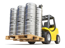 Metal beer kegs with the pallet on the forklift Royalty Free Stock Photography