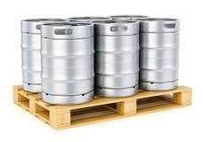 Metal beer kegs on pallet Stock Photos