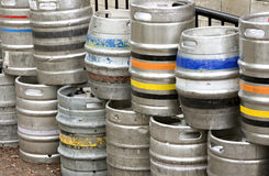 Metal beer kegs stacked up Stock Photography