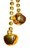 Metal bells. Christmas decoration - metal bells on a chain stock images