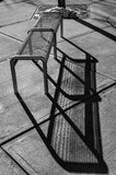 Metal bench in black and white Stock Image