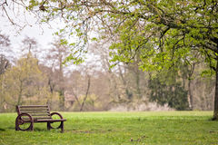 Metal bench in park Royalty Free Stock Images