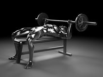 Metal bench press. 3d rendered illustration - metal bench press Royalty Free Stock Photography