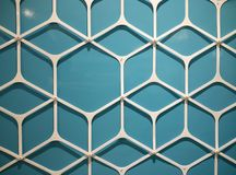 A metal bend to hexagon and blue background Royalty Free Stock Image