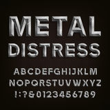 Metal Beveled Distressed Font. Vector Alphabet. Royalty Free Stock Image