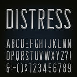 Metal Beveled Distressed Narrow Font. Vector Alphabet. vector illustration