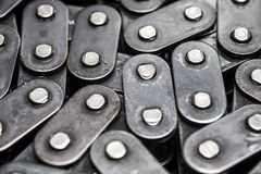 Metal bicycle chain closeup. car oil pump circuit. chain links. stock photos