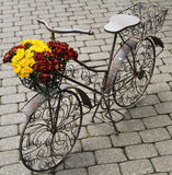 Metal Bike. Closeup on a metal decorative bike with a flower basket stock images