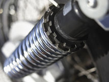 Metal bike spring detail. Close up image Royalty Free Stock Photography