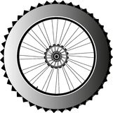 Metal bike wheel with tire and spokes. vector. Bike wheel with tire and spokes isolated on white background Stock Photography