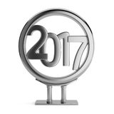 Metal billboard with 2017 new year figures. Metal frame with 2017 new year figures isolated on white background. 3d render Royalty Free Stock Photography