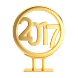 Metal billboard with 2017 new year figures. Metal frame with 2017 new year figures isolated on white background. 3d render Stock Photos