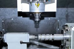 Metal billet is machined on milling machine Royalty Free Stock Images