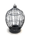 Metal birdcage with ornaments isolated on white background. 3d  Stock Images
