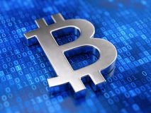 Metal bitcoin sign on digital code background Royalty Free Stock Image