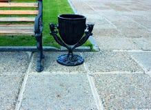 Metal black urnIn the park near Royalty Free Stock Photo