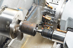 Metal blank machining process Royalty Free Stock Images