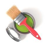 Metal blaszana puszka z zieloną farbą i paintbrush Odgórny widok Zdjęcia Stock