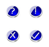 Metal blue buttons or icons. 4 beautiful blue metal buttons or icons, depends from the view of the person. Can be used on webpages or in some presentations, or Stock Photo