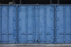 Metal blue cargo container Royalty Free Stock Photos
