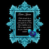 Metal blue decoration frame with the flower Royalty Free Stock Photos