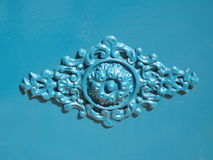Metal blue ornament on a door Royalty Free Stock Photos
