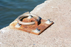 Metal boat mooring ring on a sea wall Stock Images
