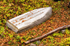 Metal Boat Upside Down in the Woods Royalty Free Stock Photo
