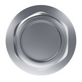 Metal bolt nut with washer top view Stock Photos