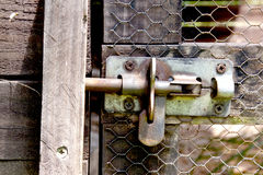 Metal Bolt On Wire Mesh Door Of Bird Aviary Stock Photos
