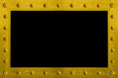 Metal bolted frame. A metal frame / border made of rivets / bolts holding sheets of textured metal together. Add your own image or text in the center Royalty Free Stock Photo