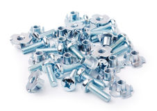 Metal bolts. Heap of metal bolts isolated on white Royalty Free Stock Photos