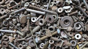 Old and rusty bolts and nuts royalty free stock image