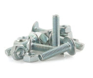 Metal bolts and nuts tool on white royalty free stock photography