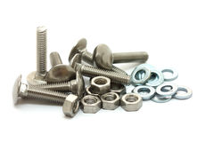 Metal bolts, nuts and washers Stock Photography