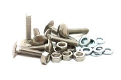 Metal bolts, nuts and washers Royalty Free Stock Photography
