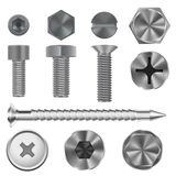 Metal bolts and screws. 3d set. Vector illustration isolated on white background Royalty Free Stock Photos