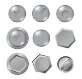 Metal bolts  on white background Stock Images
