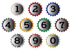 Metal Bottle Cap Numbers Royalty Free Stock Photography