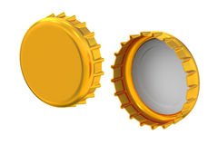 Metal bottle caps, 3D rendering Royalty Free Stock Photos