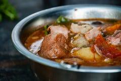 Metal bowl with goulash bogracs closeup royalty free stock image