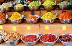 Metal bowls exotic herbs spices, market Tel Aviv, Israel royalty free stock photo