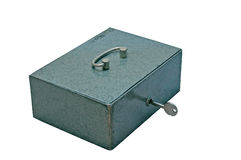 Metal box. Closed metal box on white background Royalty Free Stock Images