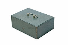 Metal box. Closed metal box on white background Stock Image