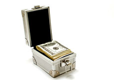 Metal box with dollars. Metal box with dollars closeup  on white background Stock Photography