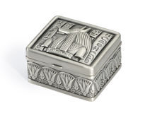Metal box in the Egyptian style. Royalty Free Stock Image