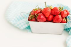 Metal box full of strawberry Stock Photography