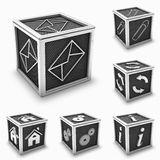 Metal box icon set. 3d rendering of silver paper clip, home, gears, info, settings, mail and reload in a metal box icon or button (may use for a icon Royalty Free Stock Photos