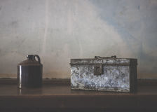 Metal Box and Jug 1890s Royalty Free Stock Photo