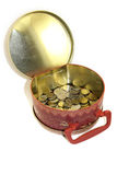Metal box with money Royalty Free Stock Photo